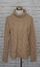Lands End Turtleneck Sweater 100% Cashmere Chunky Cable Knit Beige Medium #11