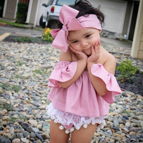 2PCS Summer Kids Infant Baby Girl Off Shoulder Ruffle Shirt Tops Blouse+Headband