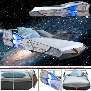 kinderbett starship 190x90cm 200x90cm jugendbett star bett raumschiff wars ebay. Black Bedroom Furniture Sets. Home Design Ideas