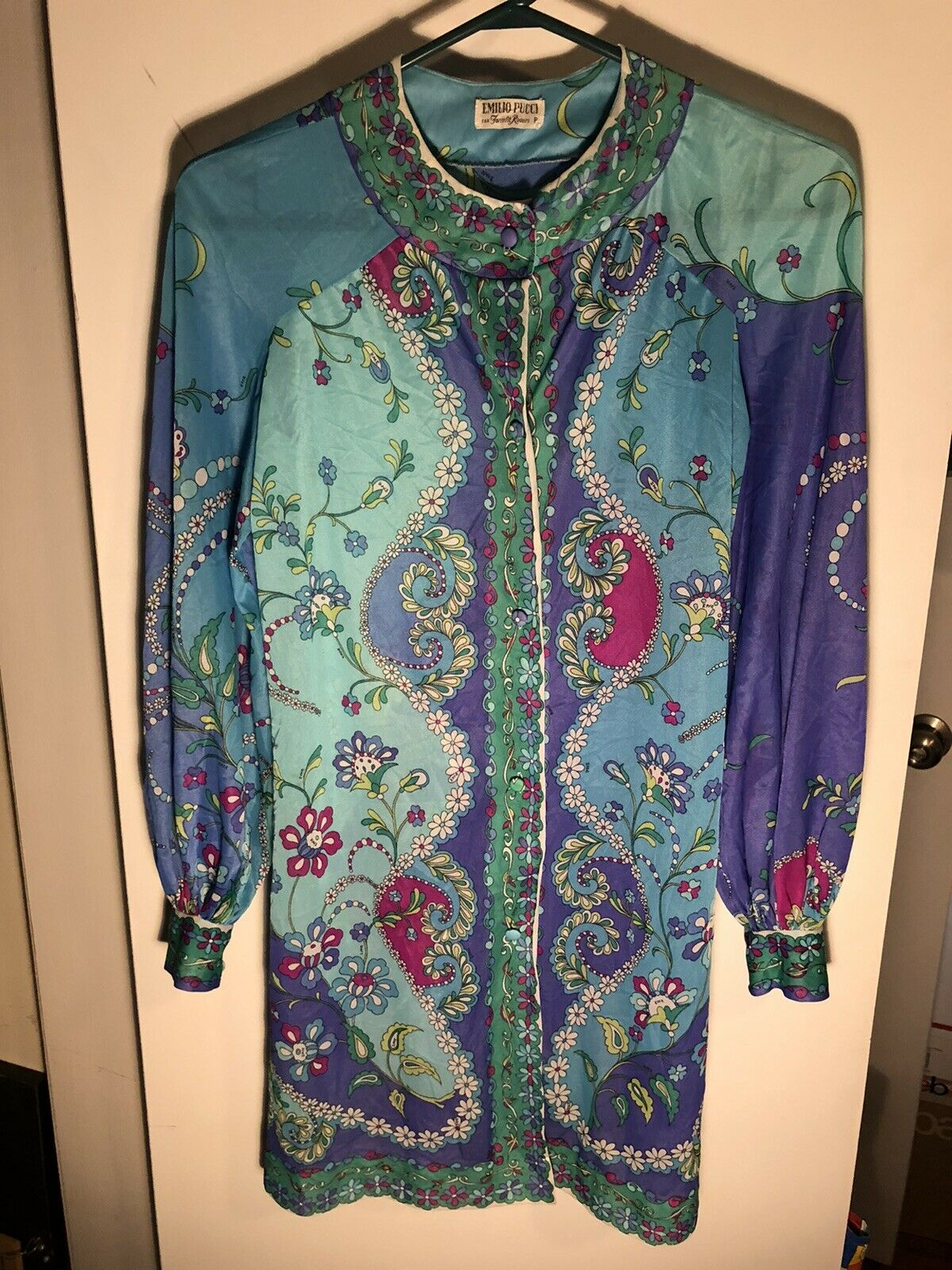VTG 60s EMILIO PUCCI Mod Paisley Teal Blue Dress ITALY Womens Size 8 -10