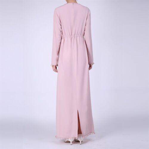 Woman Muslim Maxi Dress Long Sleeve Fashion Hijab Dubai Abaya Evening Dresses