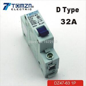 1P 32A D type 240V/415V 50HZ/60HZ Mini Circuit breaker MCB C45