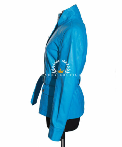 Natasha Ladies Lambskin Jacket Safari Vintage Waxed Leather Style Real Sky Blue ArEwfqUTA