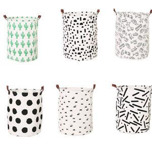 ALS-FX-Canvas-Laundry-Basket-Bin-Kids-Toy-Storage-Bag-Washing-Clothes-Hamper-H