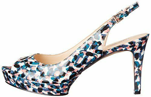 Nine West West West ABLE 6.5 M bleu Multi Patent Pumps Slingback buckle Peep Stilettos New 2f8b09