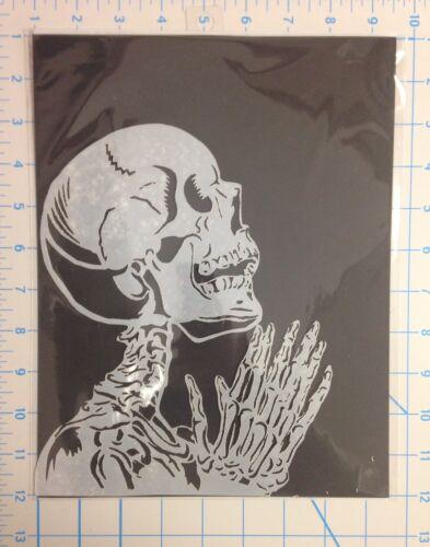 Praying Skeleton mylar reusable stencil 10 mils for Airbrush design art /& craft