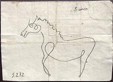 Picasso Original Graphite main signé dessin Standing Horse