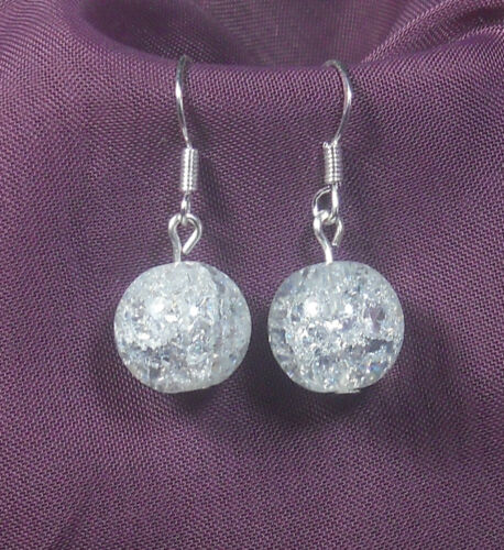 Bezaubernde Crash Glas Perlen Ohrringe kristall-klar Ohrhaken 925er Silber