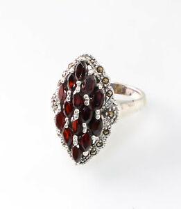 9927655-925er-Silber-Ring-Granat-Markasiten-Gr-55