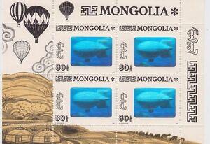 Stamp-1993-Mongolia-balloon-flight-mini-sheet-showing-Zeppelin-hologram-MUH