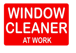 WINDOW CLEANER AT WORK ON CALL DASHCARD LADDER