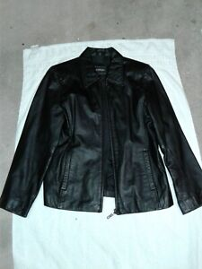 34ed76ffd Details about Women's Outbrook black leather jacket,size medium 10/12