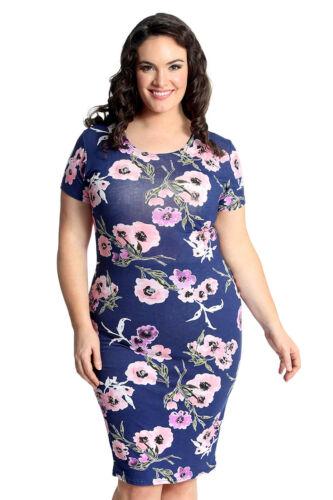 Neu Damen Übergröße Kleid Damen Bodycon Midi Floral Print Tunika Weich Nouvelle