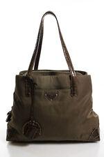 Prada Brown Nylon Crocodile Skin Contrast Long Strap Tote Handbag