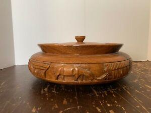 Vintage-Large-Hand-Carved-Monkey-Pod-Wood-Covered-Bowl-Asian-Farm-Scene
