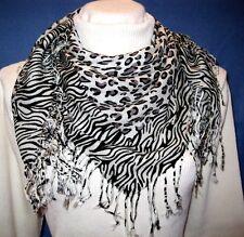 Ladies White Leopard Zebra Animal Print Pashmina Soft Shawl Scarf Stole Wrap