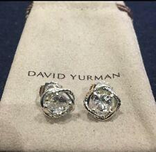 David Yurman Infinity Stud Earrings With White Topaz Stone