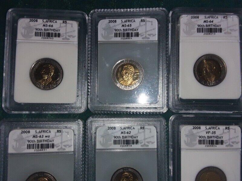 Mandela 2008 five rand coin graded set