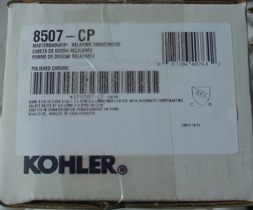 New in Box KOHLER Mastershower Relaxing Showerhead Shower Head 8507 CP