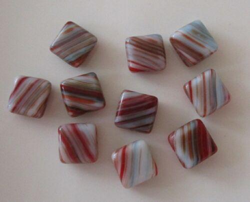 Rojo//azul a rayas 10 cuentas de cristal checo