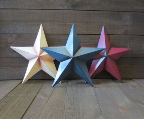 Set of 3 Red White /& Blue 10 inch Barn Stars Metal Patriotic Americana Flag Tin