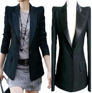 Black-US-M-Womens-Lapel-Power-Shoulder-Tuxedo-Blazer-Suit-Jacket-Coat-Slim-Jin20