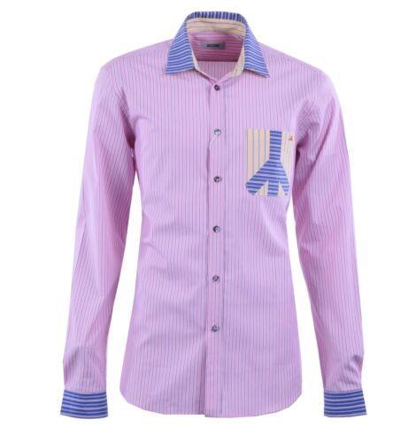 MOSCHINO Striped Cotton Shirt with Contrast Collar Pink Blue 04400