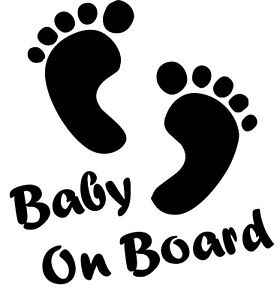 BABY ON BOARD FOOTPRINTS WARNING VINYL CAR TRUCK WINDOW DECAL STICKER