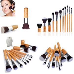10/11Pcs Bamboo Handle Makeup Brushes Set Eyeshadow Foundation Shade Cosmetic
