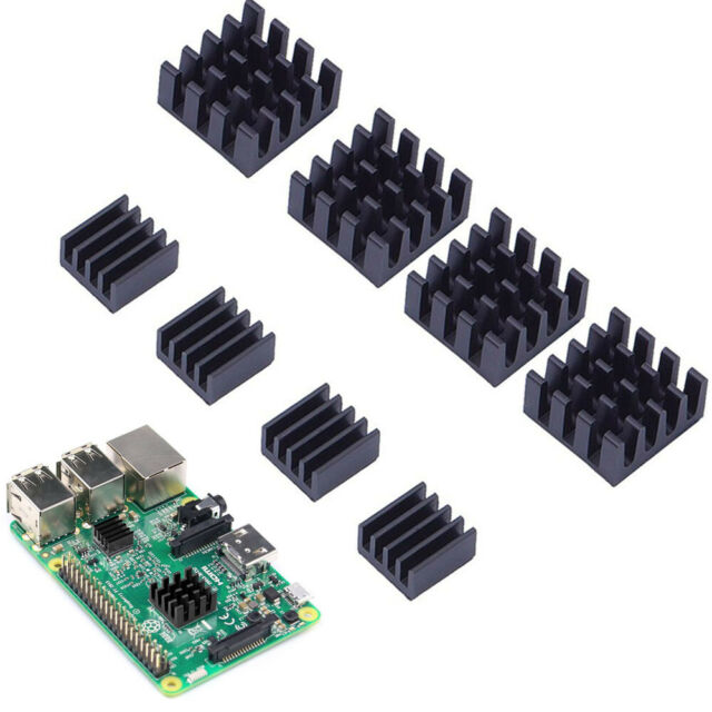 8 Pcs Set Black Adhesive Aluminum Heatsink Cooler Cooling Kit for Raspberry Pi