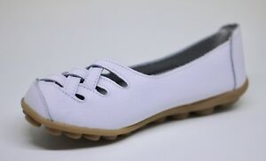 Women-039-s-White-Leather-Lattice-Flats