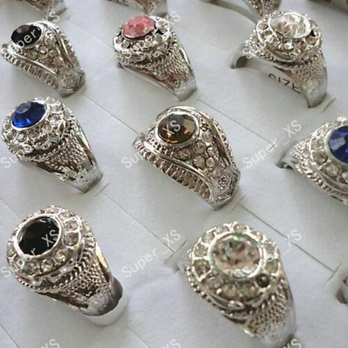 4pcs strass plaqué argent anneaux mixte gros lots bijoux
