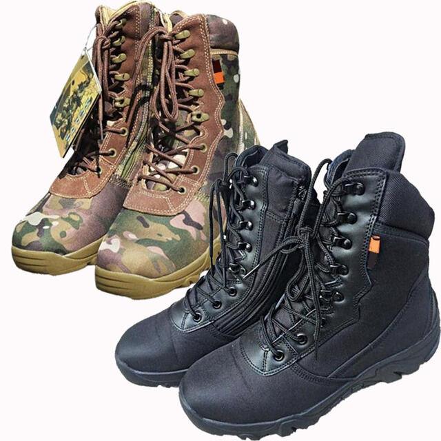 Men Military Combat Boots High Top Hiking Camo Black Army Battle Desert shoes