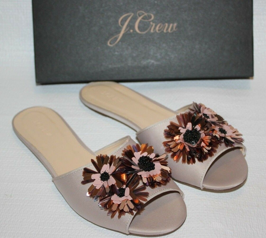 JCREW  158 Satin Slides Floral Embellishments 11 Warm Sandstone shoes G8895 NEW