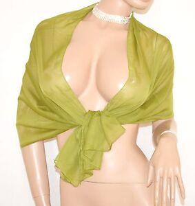 Stola Coprispalle Donna Seta Velata Verde 2 Elegante Foulard Abito Cerimonia 15n Par Processus Scientifique