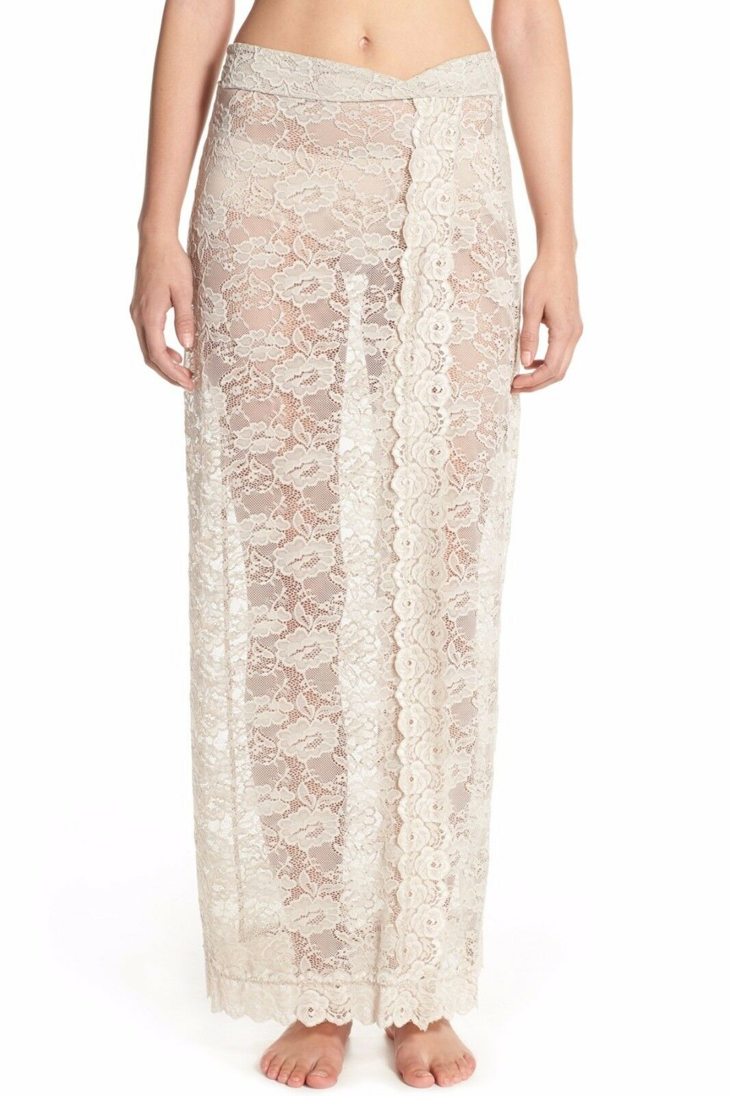 118 NWT FREE PEOPLE SzS SCALLOPED SHEER LACE HALF SLIP-MAXI SKIRT IN OATMEAL