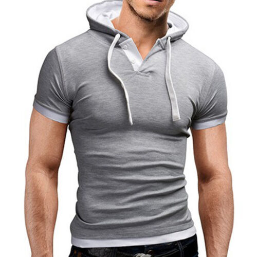Mens Slim Fit Gym Muscle Hoodies Pullover T-shirt Tops Sports Long Sleeve Blouse