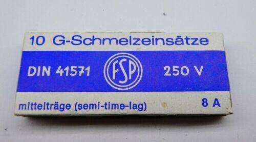 10 Stück 222 10 G-Schmelzeinsätze DIN 41571  250V Mittelträge  8A  5 x20mm