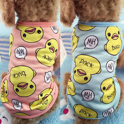 Dog Vest Pet Puppy Cat Duck Printed T Shirt Summer Clothes Coat Apparel Costumes