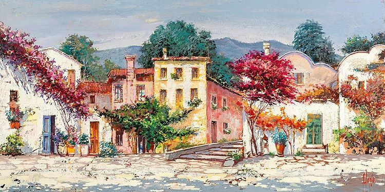 Luigi Florio  Paese mediterraneo Keilrahmen-Bild Leinwand Dorf Italien Idylle