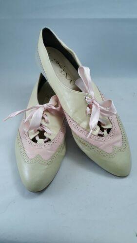 Vintage 80s Spectator Shoe Wingtip Oxfords 10M Ivo