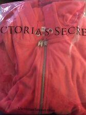 NEW IN BAG VICTORIAS SECRET SZ: LARGE RED VELOUR FULL ZIP HOODIE SWEATSHIRT