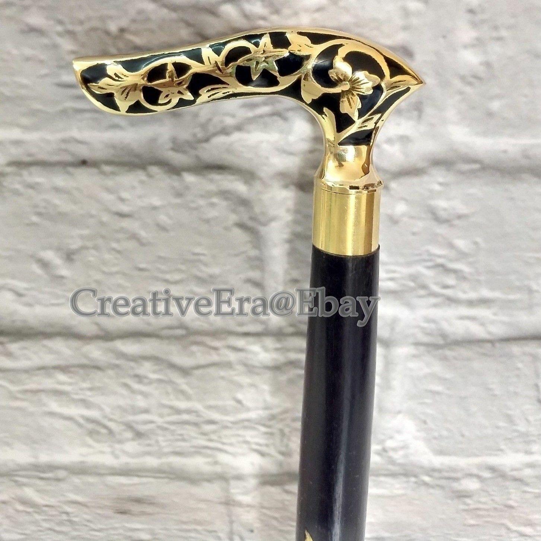 Antique Style Brass Designer Handle W/Victorian Walking Stick Black Wooden Cane