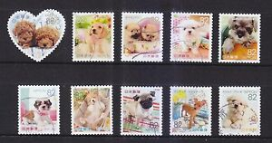 JAPAN-2015-FAMILIAR-ANIMALS-SERIES-1-DOG-PUPPIES-82-YEN-COMP-SET-10-STAMPS-USED