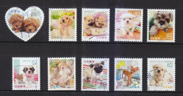 JAPAN 2015 FAMILIAR ANIMALS SERIES 1 DOG PUPPIES 82 YEN COMP. SET 10 STAMPS USED