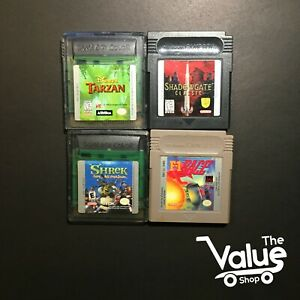 Lot-of-4-Gameboy-Color-Games-F1-Race-Shadow-Gate-Classic-amp-More