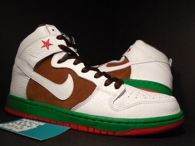2014 Nike Dunk High Premium SB CALIFORNIA CALI WHITE PECAN BROWN GREEN  RED 11
