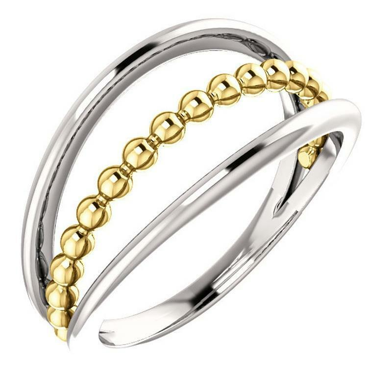 14K White and Yellow gold Beaded Negative Space Ring Size 7