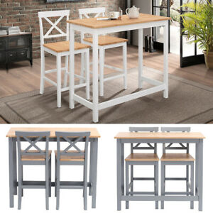 High Dining Table And 2 Chairs Set Wood Kitchen Breakfast Bar Stool Compact Unit Ebay