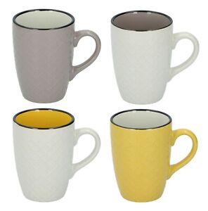 Set Of 4 Embossed Coffee Mugs Tea Cups 4 Colours Porcelain Latte Hot Drink 320ml